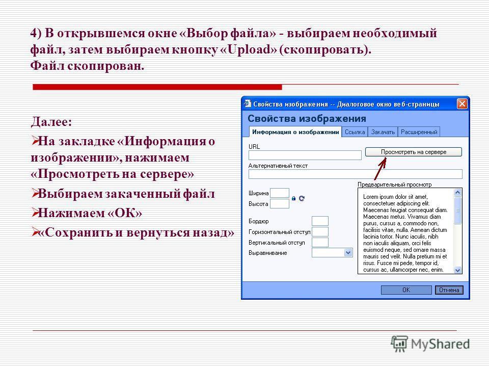4) В открывшемся окне «Выбор файла» - выбираем необходимый файл, затем выбираем кнопку «Upload» (скопировать). Файл скопирован. Далее: На закладке «Информация о изображении», нажимаем «Просмотреть на сервере» Выбираем закаченный файл Нажимаем «ОК» «С