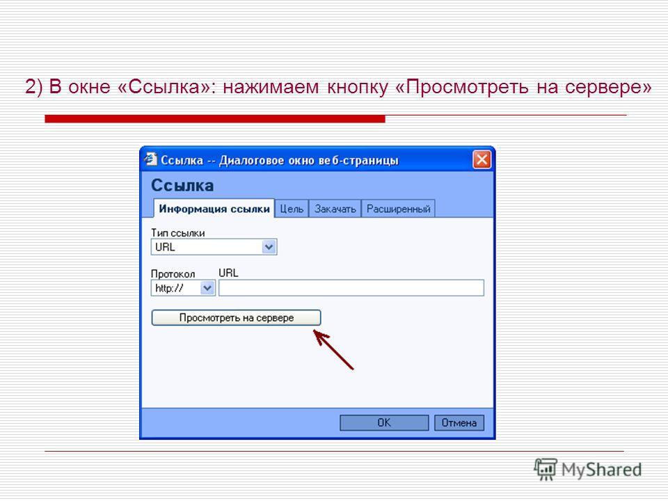 2) В окне «Ссылка»: нажимаем кнопку «Просмотреть на сервере»