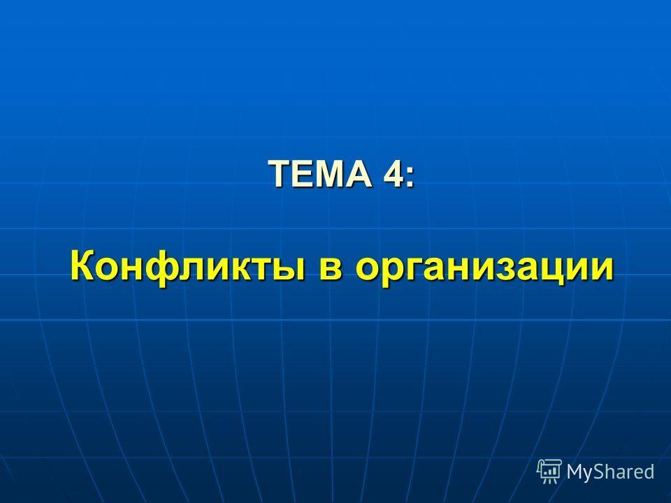 ТЕМА 4: Конфликты в организации