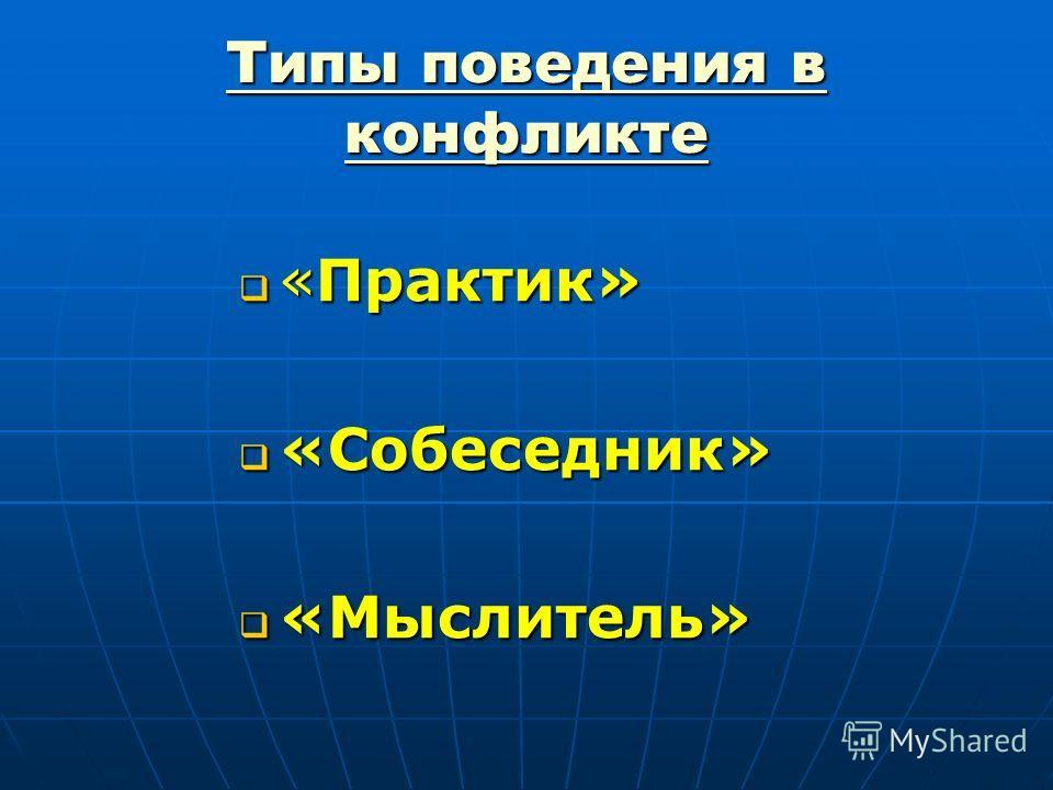 Типы поведения в конфликте «Практик» «Практик» «Собеседник» «Собеседник» «Мыслитель» «Мыслитель»