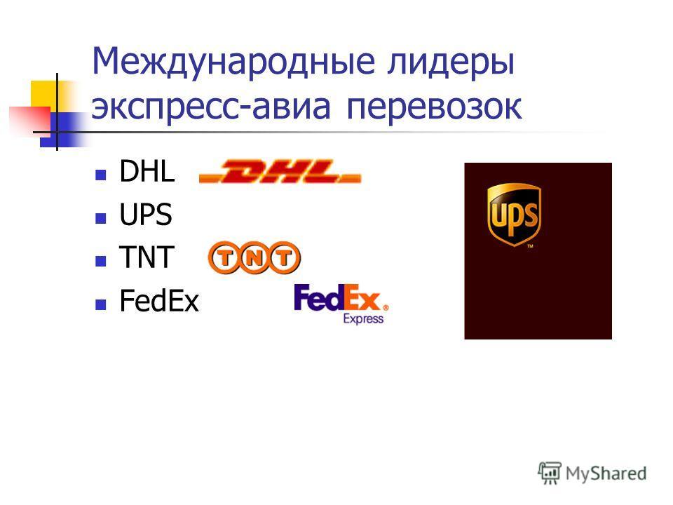 Международные лидеры экспресс-авиа перевозок DHL UPS TNT FedEx
