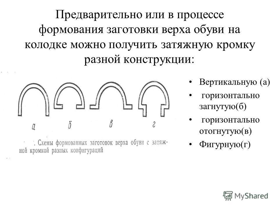 Предварительно или в процессе формования заготовки верха обуви на колодке можно получить затяжную кромку разной конструкции: Вертикальную (а) горизонтально загнутую(б) горизонтально отогнутую(в) Фигурную(г)