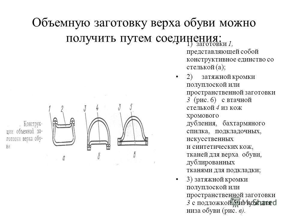 Объемную заготовку верха обуви можно получить путем соединения: 1) заготовки 1, представляющей собой конструктивное единство со стелькой (а); 2) затяжной кромки полуплоской или пространственной заготовки 3 (рис. 6) с втачной стелькой 4 из кож хромово