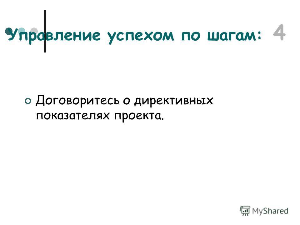 Договоритесь о директивных показателях проекта. Управление успехом по шагам: 4