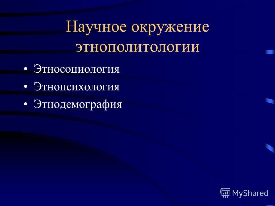 Научное окружение этнополитологии Этносоциология Этнопсихология Этнодемография