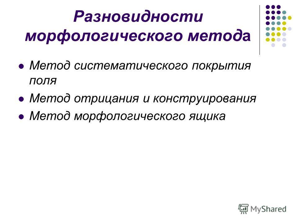 Разновидности морфологического метода Метод систематического покрытия поля Метод отрицания и конструирования Метод морфологического ящика
