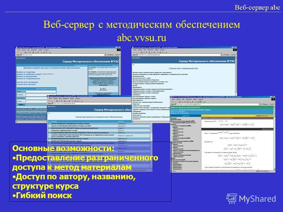 Веб-сервер с методическим обеспечением abc.vvsu.ru Веб-сервер abc Основные возможности: Предоставление разграниченного доступа к метод материалам Доступ по автору, названию, структуре курса Гибкий поиск