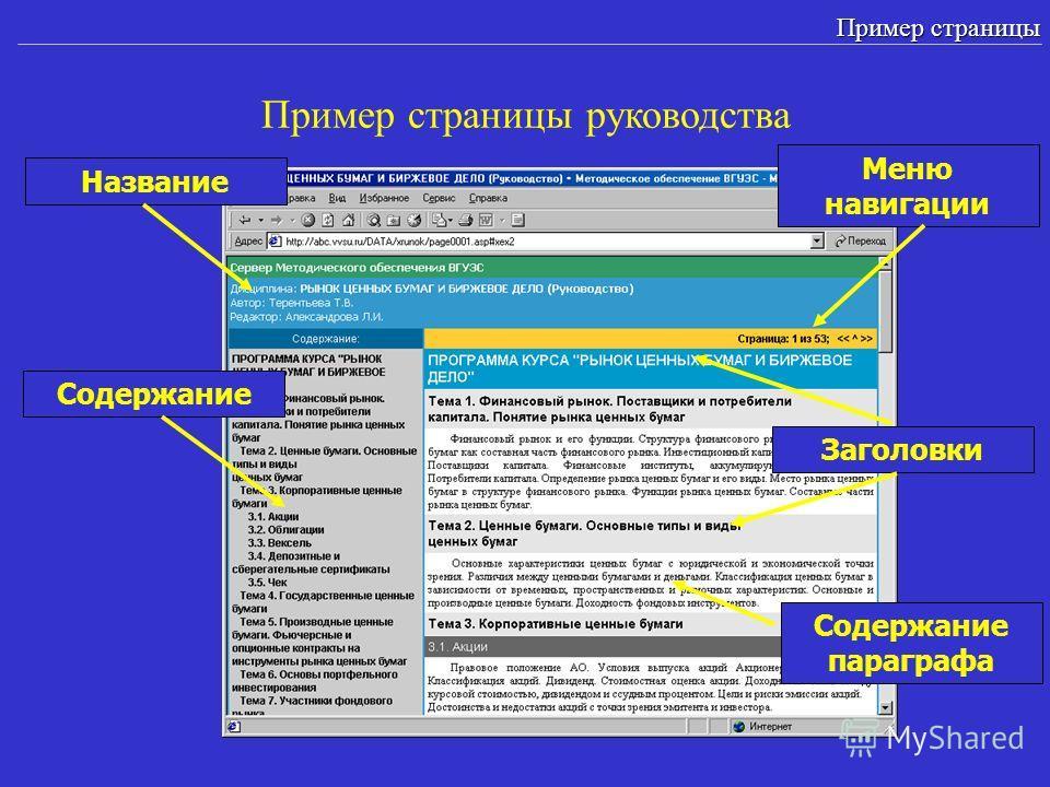 Пример страницы руководства Пример страницы Содержание Содержание параграфа Заголовки Меню навигации Название