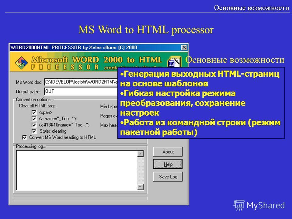 MS Word to HTML processor Основные возможности Генерация выходных HTML-страниц на основе шаблонов Гибкая настройка режима преобразования, сохранение настроек Работа из командной строки (режим пакетной работы) Основные возможности