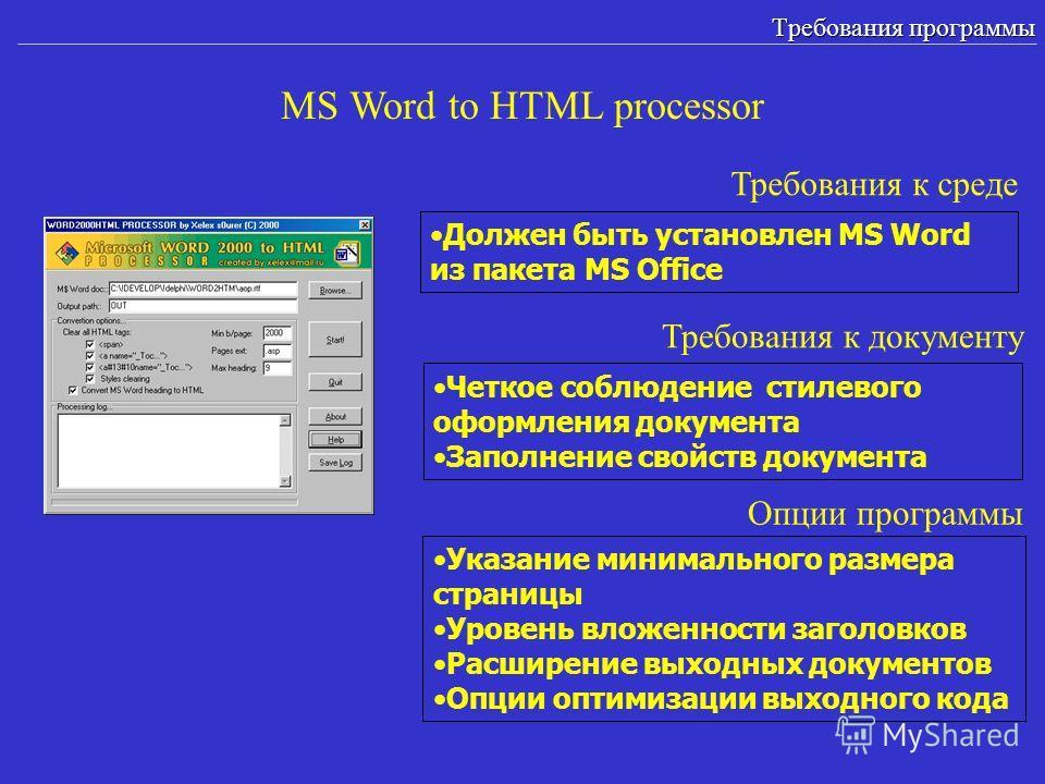 MS Word to HTML processor Требования программы Должен быть установлен MS Word из пакета MS Office Требования к среде Опции программы Указание минимального размера страницы Уровень вложенности заголовков Расширение выходных документов Опции оптимизаци