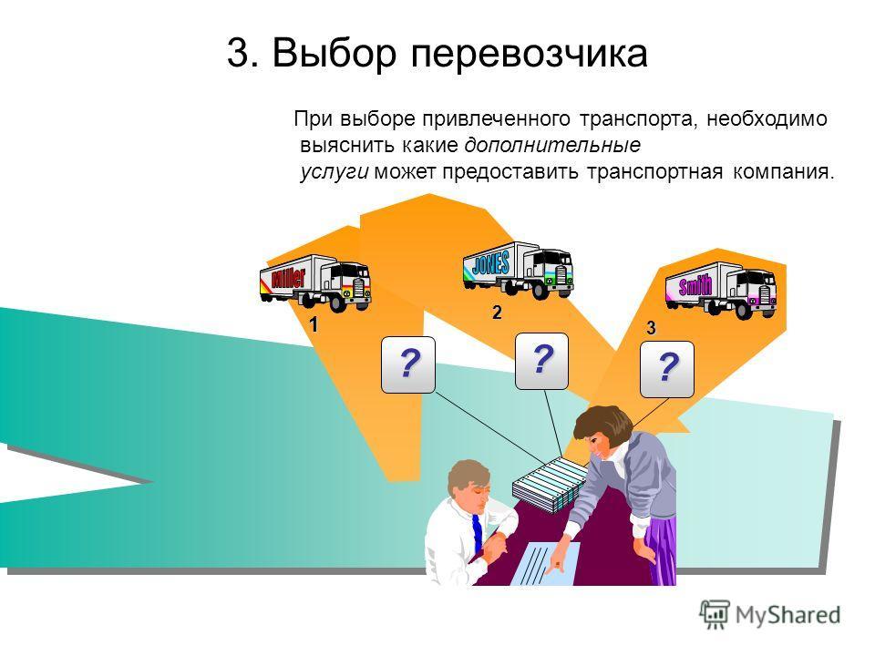 3. Выбор перевозчика 1 2 3 ? ? ? При выборе привлеченного транспорта, необходимо выяснить какие дополнительные услуги может предоставить транспортная компания.
