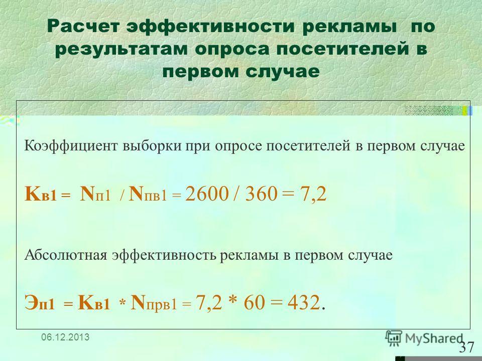 06.12.2013 Расчет эффективности рекламы по результатам опроса посетителей в первом случае 37 Коэффициент выборки при опросе посетителей в первом случае K в1 = N п1 / N пв1 = 2600 / 360 = 7,2 Абсолютная эффективность рекламы в первом случае Э п1 = K в