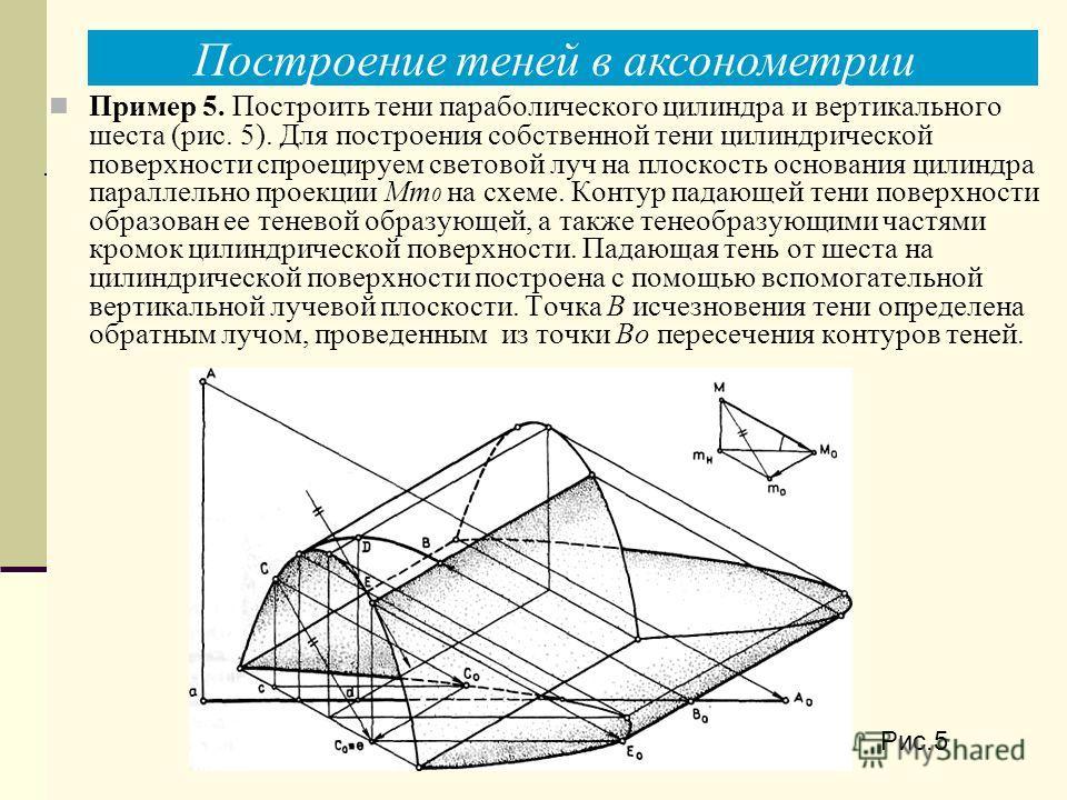 Рис.5 Пример 5. Построить тени параболического цилиндра и вертикального шеста (рис. 5). Для построения собственной тени цилиндрической поверхности спроецируем световой луч на плоскость основания цилиндра параллельно проекции Мт 0 на схеме. Контур пад