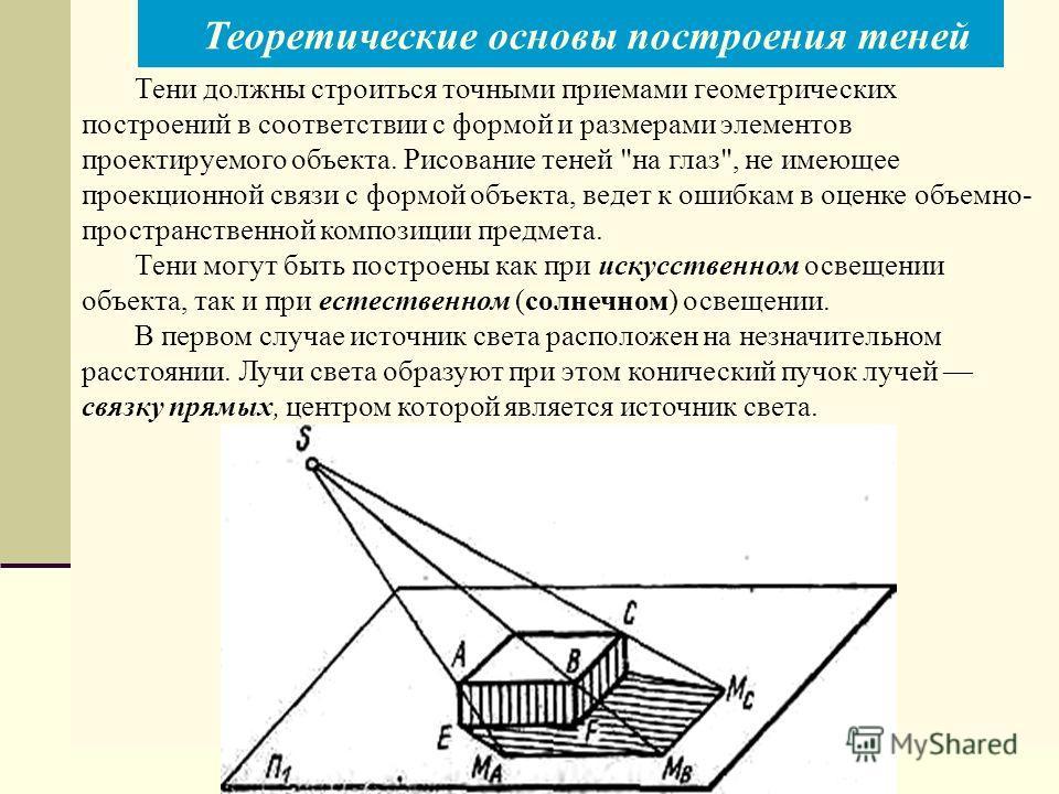 Тени должны строиться точными приемами геометрических построений в соответствии с формой и размерами элементов проектируемого объекта. Рисование теней