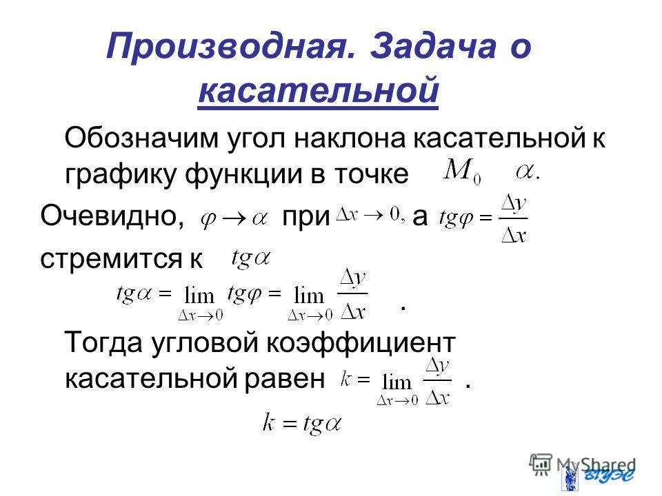 Производная. Задача о касательной Обозначим угол наклона касательной к графику функции в точке Очевидно, при а стремится к. Тогда угловой коэффициент касательной равен.