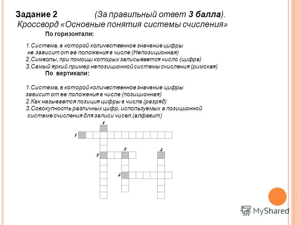 Задание 2 (За правильный ответ 3 балла). Кроссворд «Основные понятия системы счисления» По горизонтали: 1.Система, в которой количественное значение цифры не зависит от ее положения в числе (Непозиционная) 2.Символы, при помощи которых записывается ч