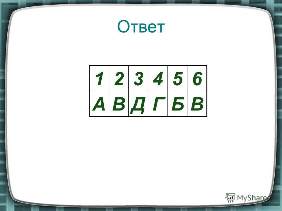 Ответ 123456 АВДГБВ