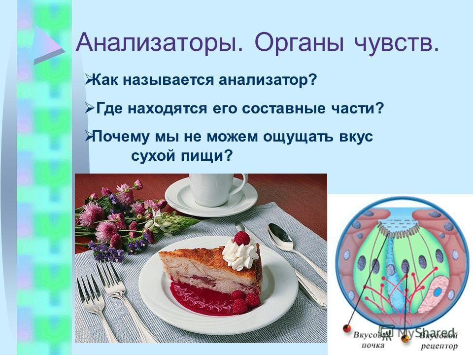 Анализаторы. Органы чувств. Как называется анализатор? Где находятся его составные части? Почему мы не можем ощущать вкус сухой пищи?