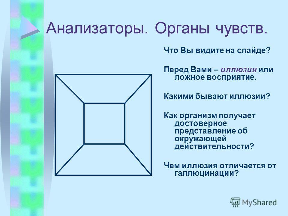 Анализаторы. Органы чувств. Что Вы видите на слайде? Перед Вами – иллюзия или ложное восприятие. Какими бывают иллюзии? Как организм получает достоверное представление об окружающей действительности? Чем иллюзия отличается от галлюцинации?