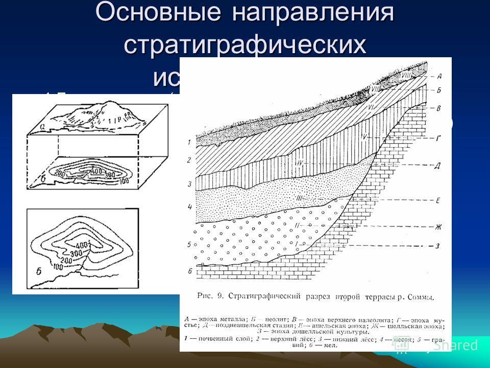 Основные направления стратиграфических исследований. 1.Геохронология(создаёт каркас из изохрон) 2.Региональная стратиграфия(заполняет этот каркас) Оба этих понятия составляют единую систему стратиграфических исследований. Практическое применение: 1)Г