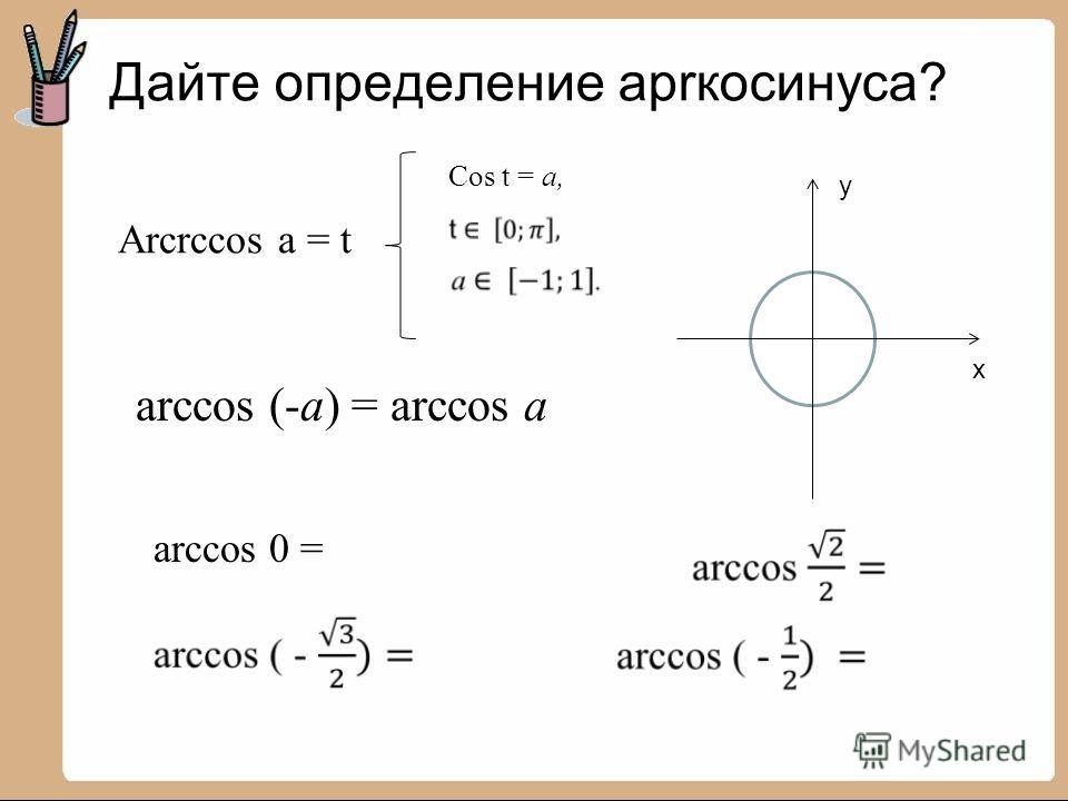 Дайте определение арrкосинуса? y x Arcrccos a = t Cos t = a, arccos (-a) = arccos a arccos 0 =