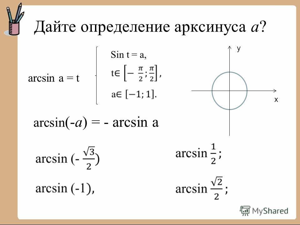 Дайте определение арксинуса a? y x arcsin (-a) = - arcsin a arcsin a = t Sin t = a,