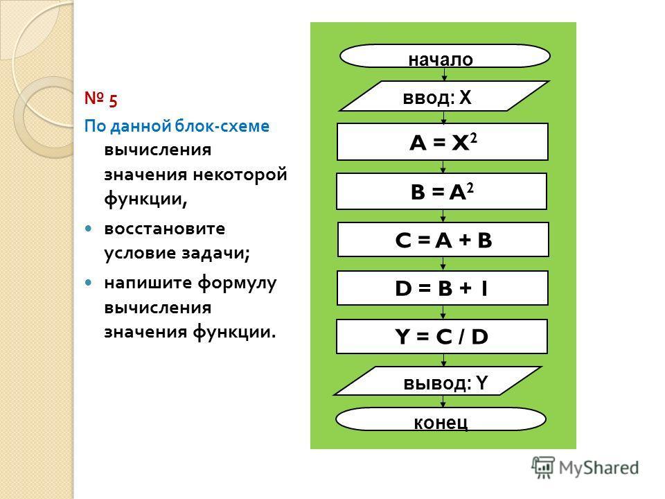 5 По данной блок - схеме вычисления значения некоторой функции, восстановите условие задачи ; напишите формулу вычисления значения функции. начало ввод: X вывод: Y конец A = X 2 C = A + B D = B + 1 Y = C / D B = A 2