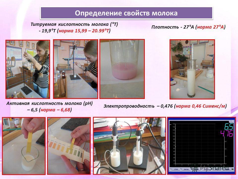 Определение свойств молока Титруемая кислотность молока (°Т) - 19,9°Т (норма 15,99 – 20.99°Т) Активная кислотность молока (рН) – 6,5 (норма – 6,68) Электропроводность – 0,476 (норма 0,46 Сименс/м) Плотность - 27°А (норма 27°А)