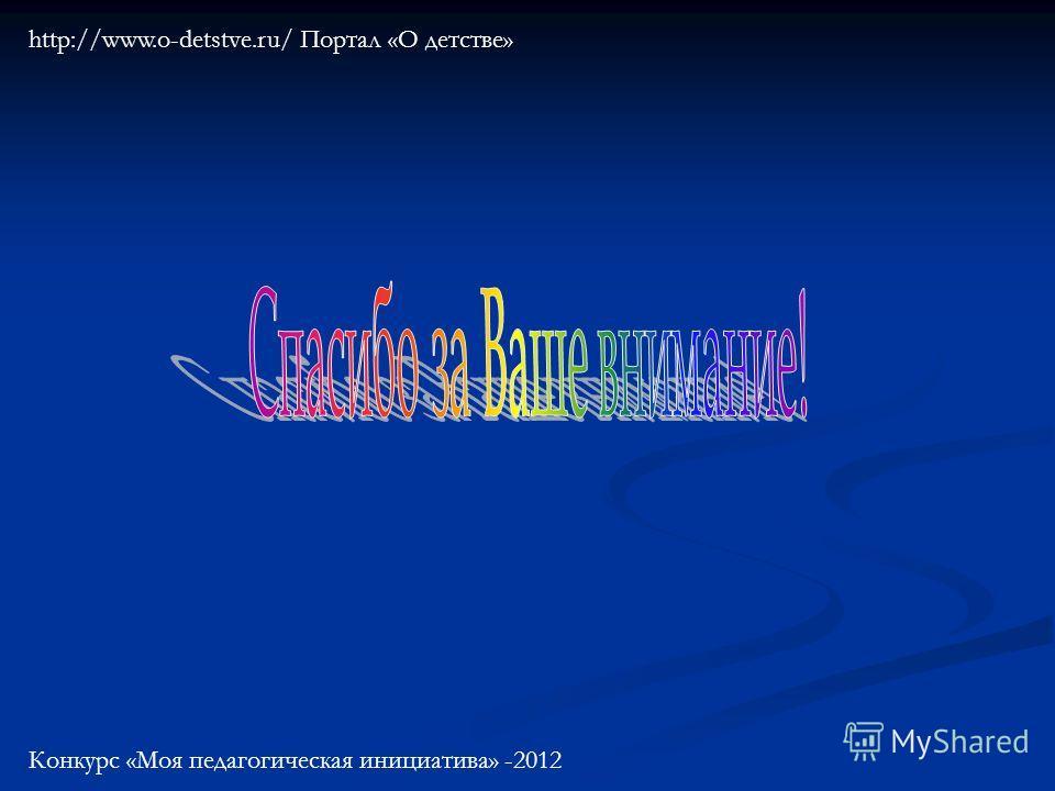 http://www.o-detstve.ru/ Портал «О детстве» Конкурс «Моя педагогическая инициатива» -2012