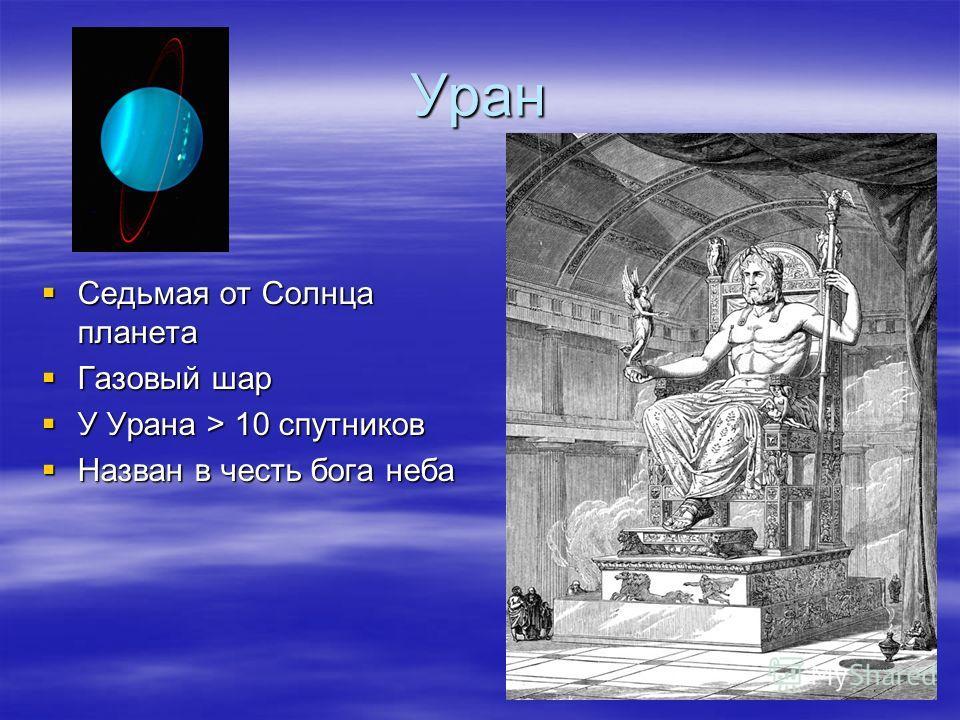Уран Седьмая от Солнца планета Седьмая от Солнца планета Газовый шар Газовый шар У Урана > 10 спутников У Урана > 10 спутников Назван в честь бога неба Назван в честь бога неба