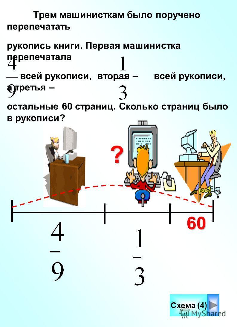Трем машинисткам было поручено перепечатать рукопись книги. Первая машинистка перепечатала всей рукописи, вторая – всей рукописи, а третья – остальные 60 страниц. Сколько страниц было в рукописи?? Схема (4)60