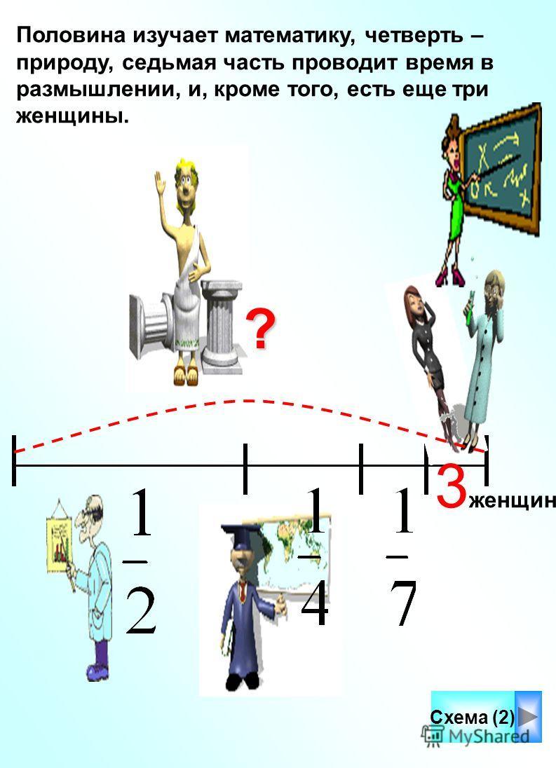 Половина изучает математику, четверть – природу, седьмая часть проводит время в размышлении, и, кроме того, есть еще три женщины. Схема (2) 3 женщины?
