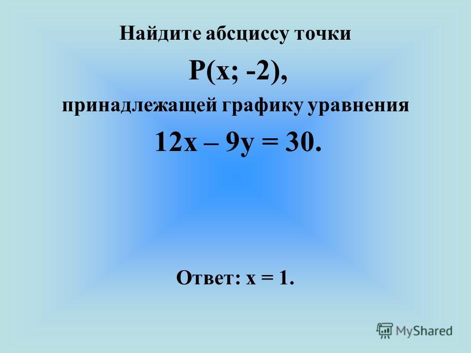 Найдите абсциссу точки Р(х; -2), принадлежащей графику уравнения 12х – 9у = 30. Ответ: х = 1.