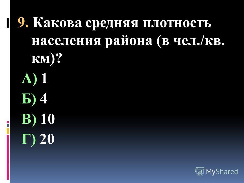 9. Какова средняя плотность населения района (в чел./кв. км)? А) 1 Б) 4 В) 10 Г) 20