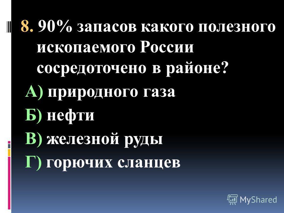 8. 90% запасов какого полезного ископаемого России сосредоточено в районе? А) природного газа Б) нефти В) железной руды Г) горючих сланцев