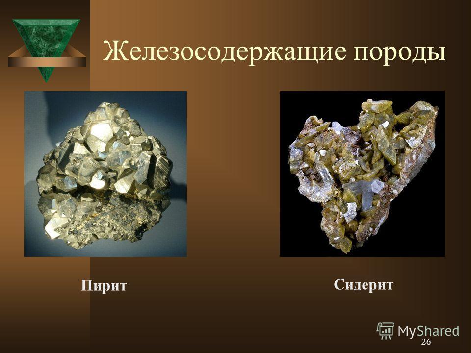 Железосодержащие породы Пирит Сидерит 26