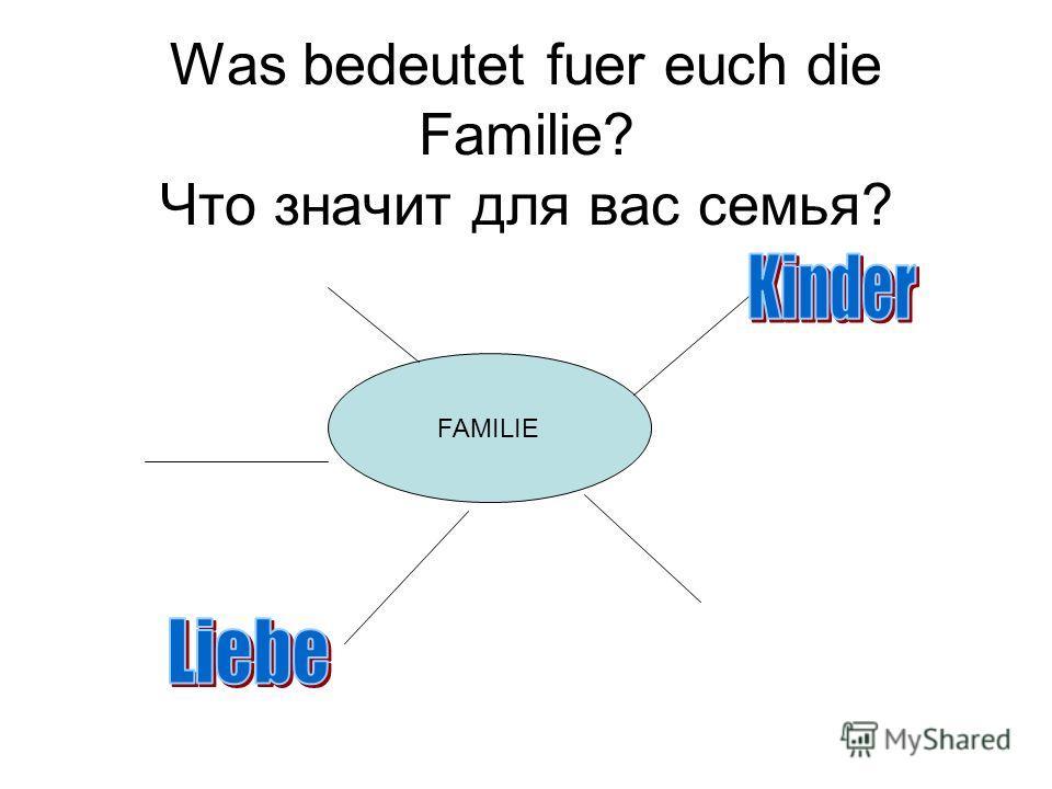 Слово «Семья» восходит к корню «сем», имеющему отношение к семени и продолжению рода, то есть рождению и воспитанию детей. Иногда для обозначения семьи или родословной используется латинское слово «фамилия», которое в русском языке в первую очередь о