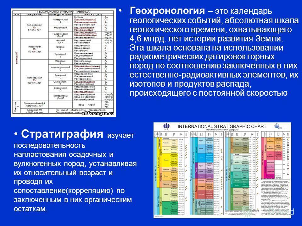 Геохронология – это календарь геологических событий, абсолютная шкала геологического времени, охватывающего 4,6 млрд. лет истории развития Земли. Эта шкала основана на использовании радиометрических датировок горных пород по соотношению заключенных в