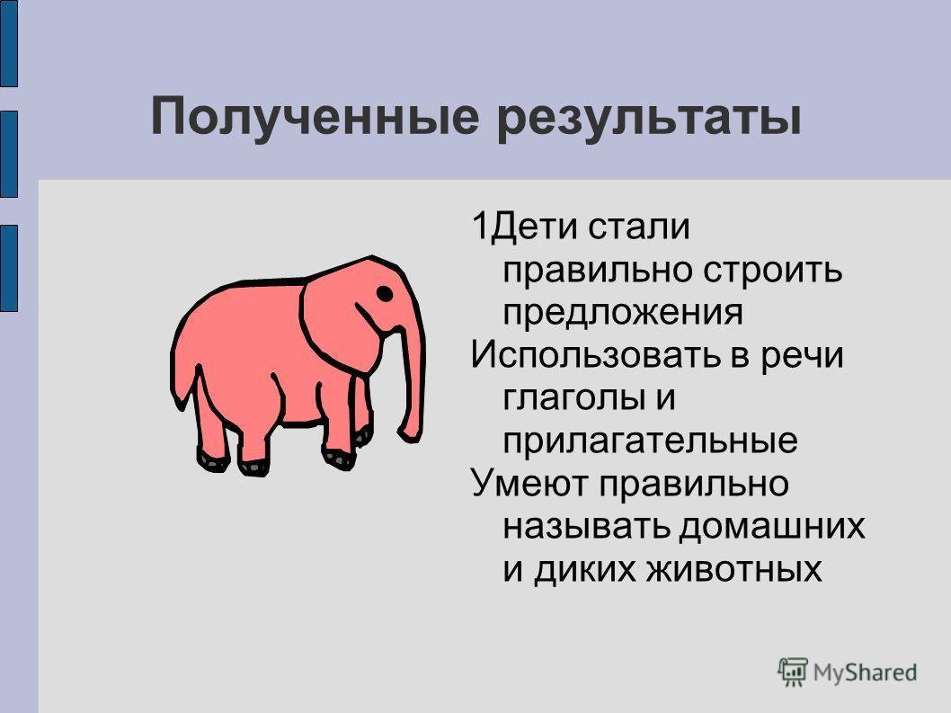 Полученные результаты 1Дети стали правильно строить предложения Использовать в речи глаголы и прилагательные Умеют правильно называть домашних и диких животных