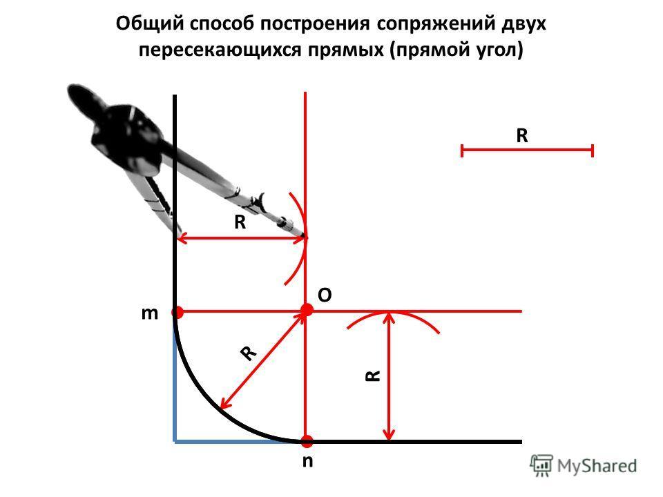 m n Общий способ построения сопряжений двух пересекающихся прямых (прямой угол) R R R О R
