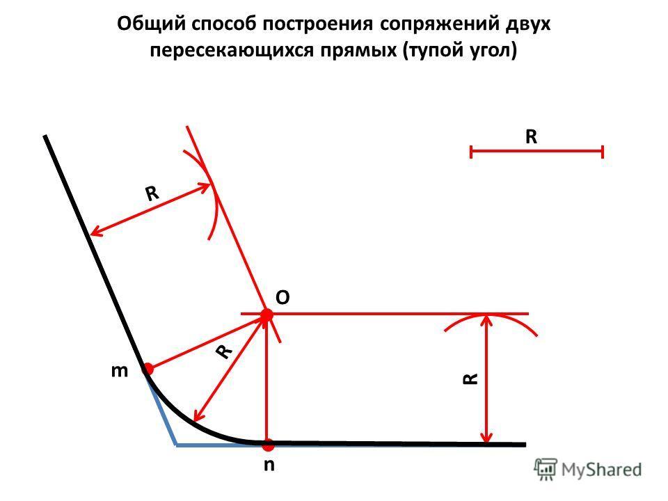 m n Общий способ построения сопряжений двух пересекающихся прямых (тупой угол) R R R О R