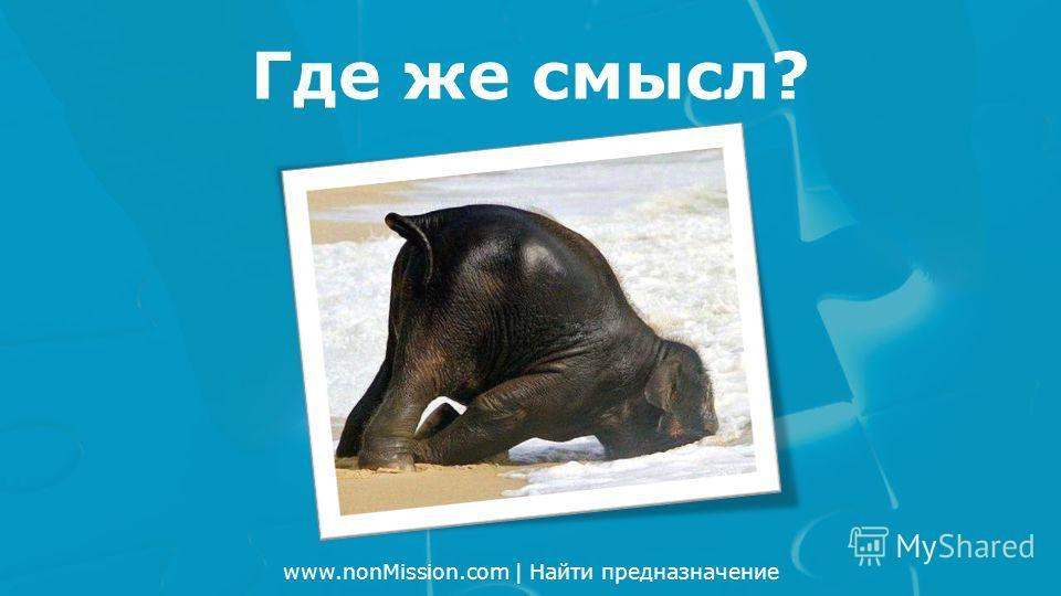 www.nonMission.com | Найти предназначение Где же смысл?