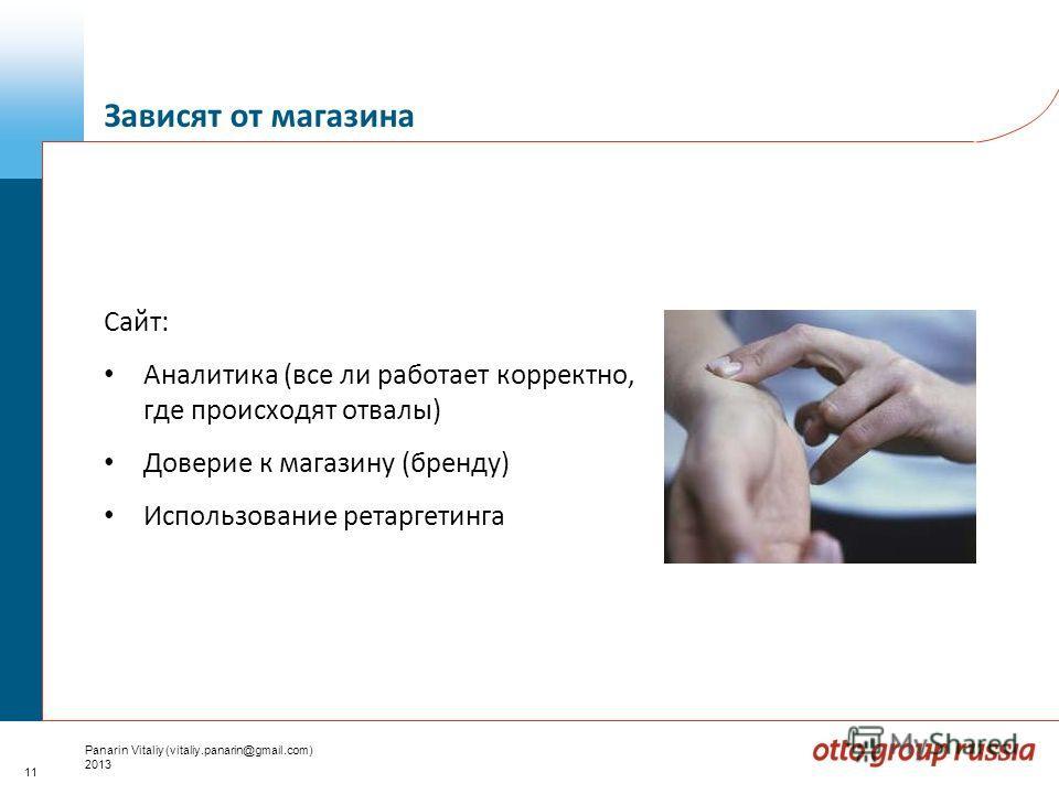 11 Panarin Vitaliy (vitaliy.panarin@gmail.com) 2013 Сайт: Аналитика (все ли работает корректно, где происходят отвалы) Доверие к магазину (бренду) Использование ретаргетинга Зависят от магазина