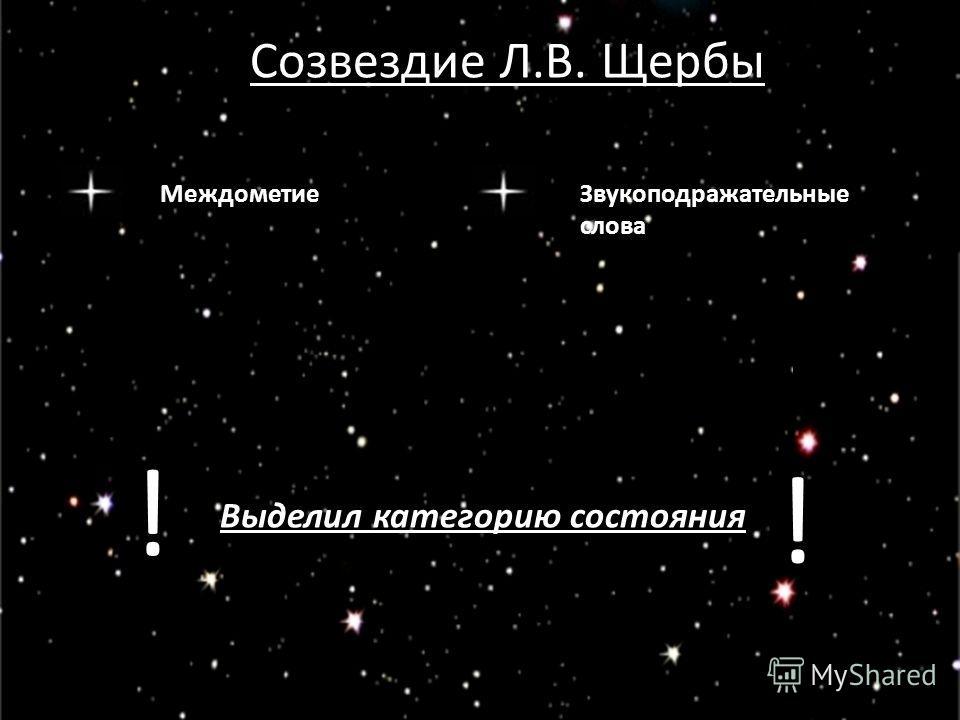 Созвездие Л.В. Щербы МеждометиеЗвукоподражательные слова Выделил категорию состояния ! !