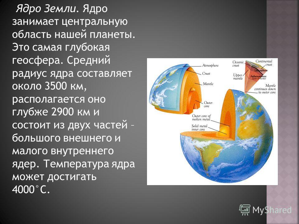 Ядро Земли. Ядро занимает центральную область нашей планеты. Это самая глубокая геосфера. Средний радиус ядра составляет около 3500 км, располагается оно глубже 2900 км и состоит из двух частей – большого внешнего и малого внутреннего ядер. Температу