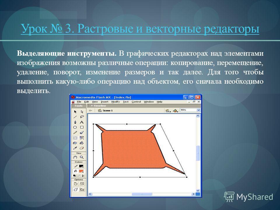 Урок 3. Растровые и векторные редакторы Выделяющие инструменты. В графических редакторах над элементами изображения возможны различные операции: копирование, перемещение, удаление, поворот, изменение размеров и так далее. Для того чтобы выполнить к