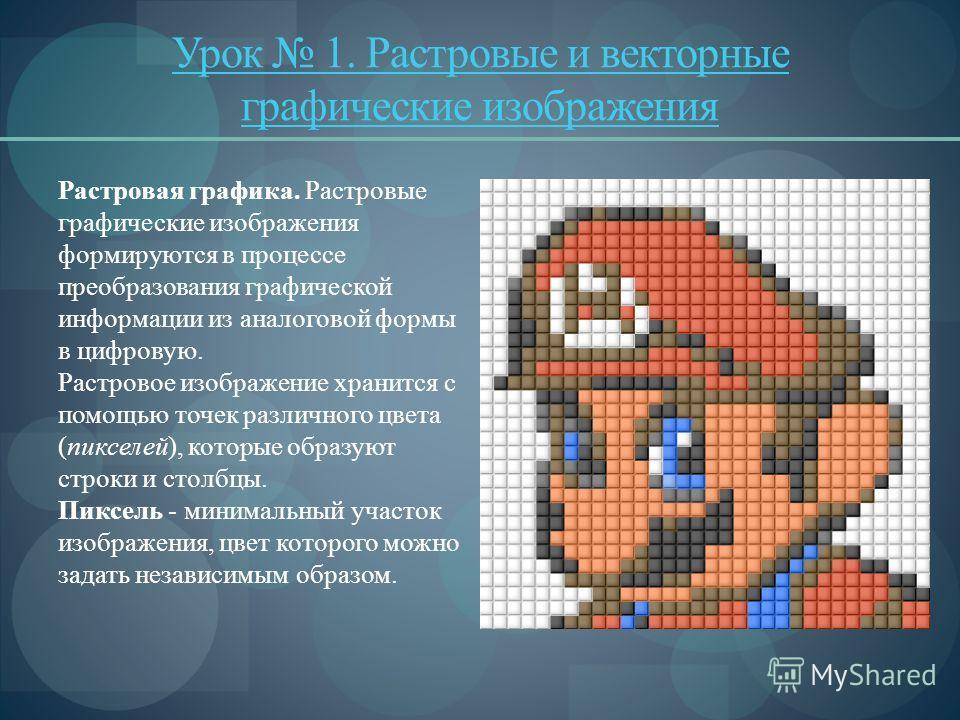 Урок 1. Растровые и векторные графические изображения Растровая графика. Растровые графические изображения формируются в процессе преобразования графической информации из аналоговой формы в цифровую. Растровое изображение хранится с помощью точек ра