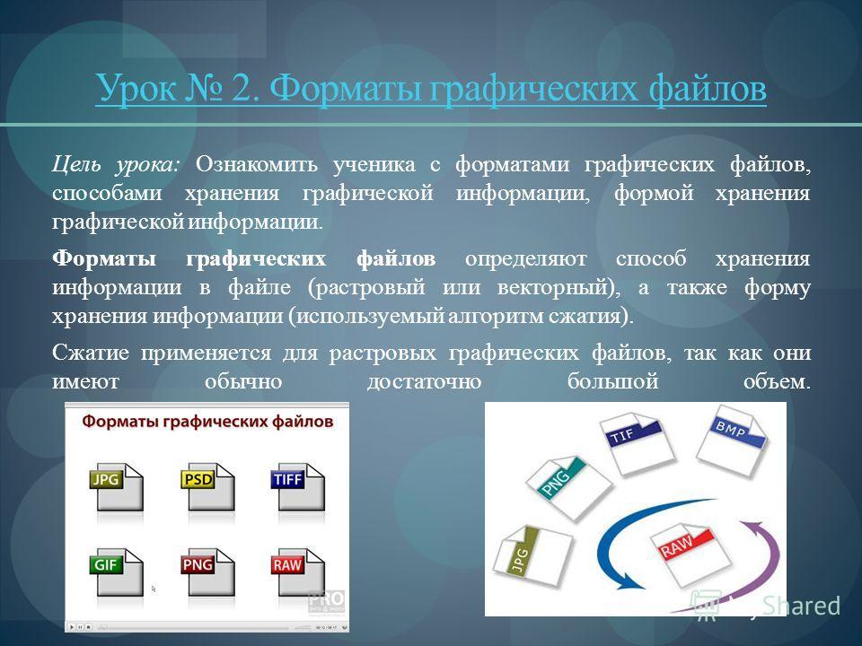 Урок 2. Форматы графических файлов Цель урока: Ознакомить ученика с форматами графических файлов, способами хранения графической информации, формой хранения графической информации. Форматы графических файлов определяют способ хранения информации в ф