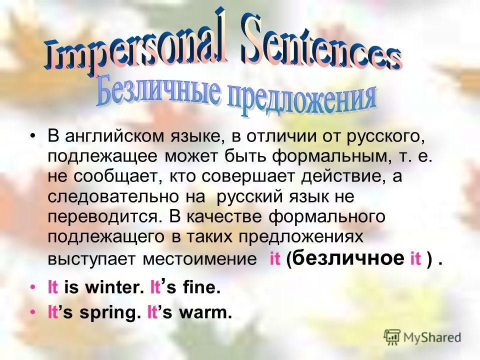 В английском языке, в отличии от русского, подлежащее может быть формальным, т. е. не сообщает, кто совершает действие, а следовательно на русский язык не переводится. В качестве формального подлежащего в таких предложениях выступает местоимение it (