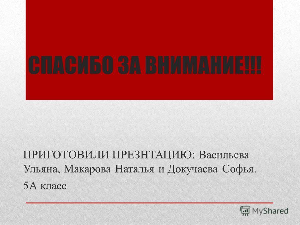 СПАСИБО ЗА ВНИМАНИЕ!!! ПРИГОТОВИЛИ ПРЕЗНТАЦИЮ: Васильева Ульяна, Макарова Наталья и Докучаева Софья. 5А класс